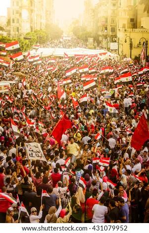 Egyptian Demonstration Against Muslim Brotherhood - Alexandria, Sidi Gaber, Egypt 30 June 2013 - stock photo