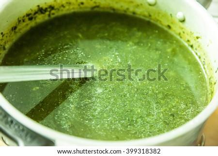 Egyptian easter food cuisine kofta, turkey, molokhia, macaroni and soup - stock photo