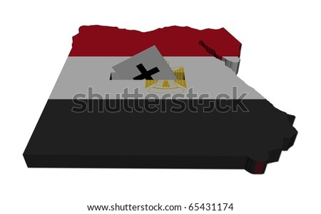 Egyptian election map of Egypt with ballot paper illustration - stock photo