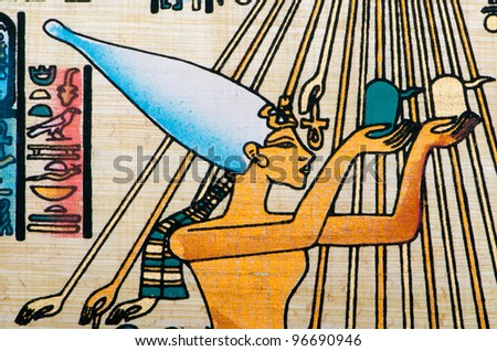 Egyptian history concept with papyrus - stock photo