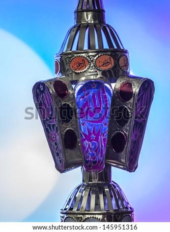 Egyptian lantern on bokeh light - stock photo