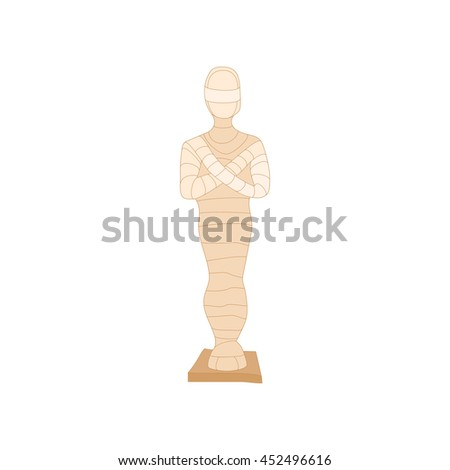 Egyptian mummy icon in cartoon style on a white background