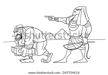 Egyptian overseer and slave - stock photo