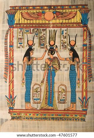 Egyptian papyrus depicting ceremony - stock photo