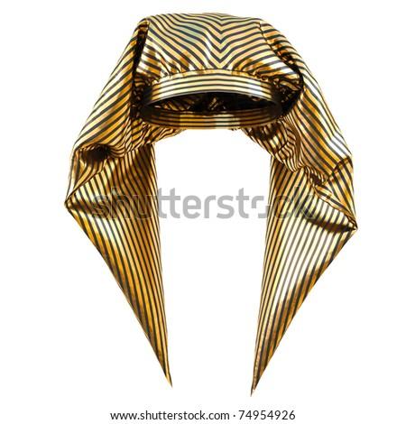 Egyptian pharaoh's golden hat. isolated on white. - stock photo