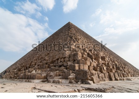 Egyptian Pyramids of the Giza Plateau in Cairo. - stock photo