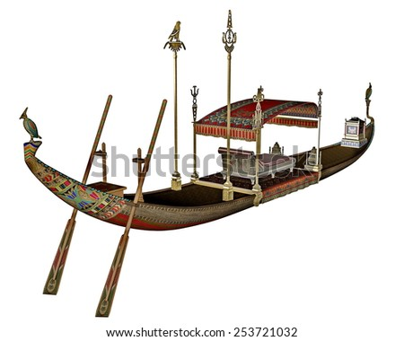 Egyptian sacred barge with throne isolated in white background - 3D render - stock photo