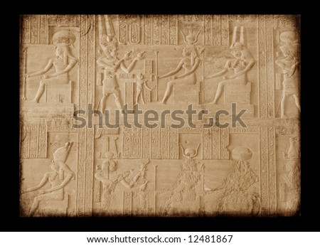 Egyptian sings on the wall, grunge background - stock photo