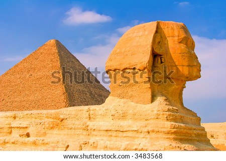 Egyptian Sphinx and the Great Pyramid of Cairo Egypt - stock photo