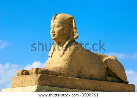 egyptian sphinx by pompey's pillar at the temple of serapis - stock photo