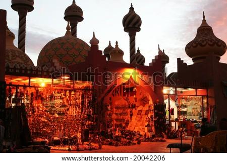 Egyptian street in night - stock photo