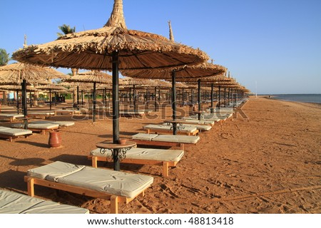 Egyptian sunbeds on the beach