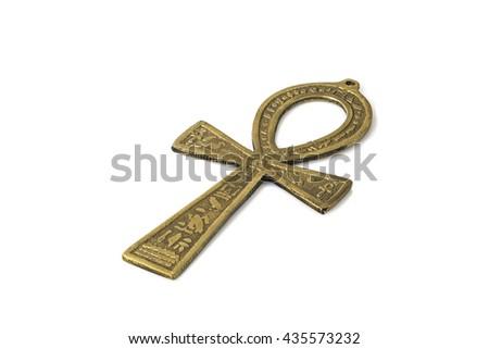 Egyptian symbol of life Ankh isolated on white with shadows - stock photo