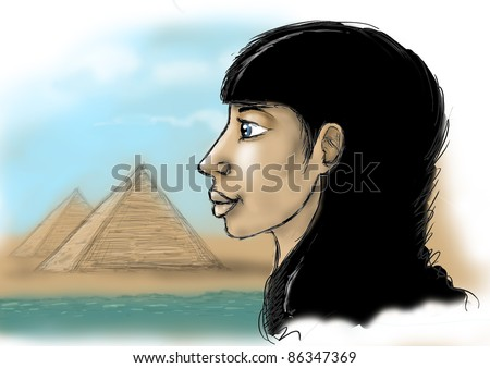 Egyptian woman against pyramids - stock photo