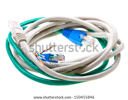 Ehernet patch cord isolated on white background - stock photo