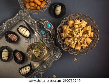 Eid celebration food and festive background. View from top. - stock photo