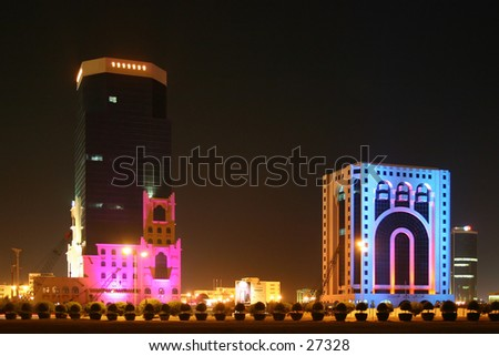 Eid holiday illuminations in Qatar, Arabia in 2004. The building on the right is one of the local courts. - stock photo