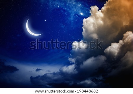 Eid Mubarak background with shiny moon and stars. Elements of this image furnished by NASA - stock photo