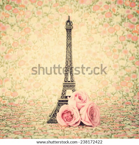 Eifel tower and roses - stock photo