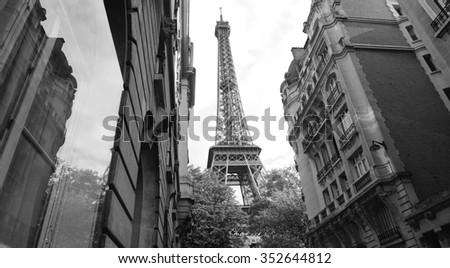 eiffel alley paris and tower - stock photo