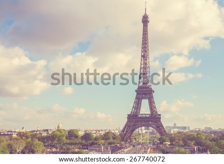 eiffel tour from  Trocadero hill, Paris,  France - stock photo