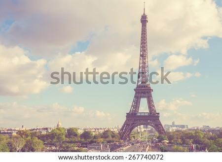 eiffel tour from  Trocadero hill, Paris,  France - stock photo