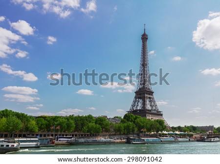 eiffel tour over Seine river, Paris,  France - stock photo