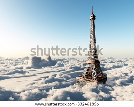 Eiffel Tower above the clouds Computer generated 3D illustration