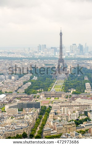 Eiffel Tower. Aerial view with cityscape.