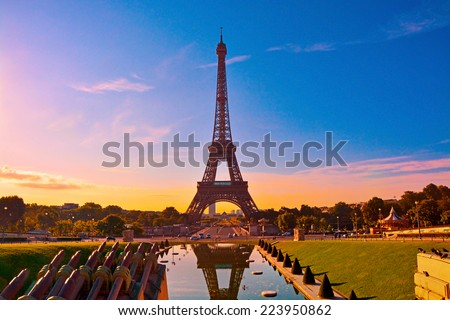 Eiffel Tower and fountain at Jardins du Trocadero at sunrise. Morning in Paris, France.  - stock photo