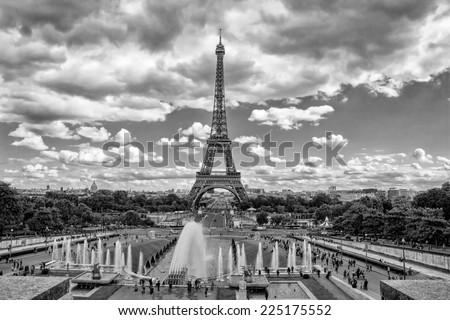 Eiffel Tower and fountain at Jardins du Trocadero, Paris, France - stock photo