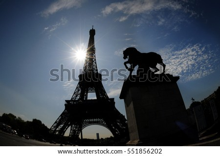 Eiffel Tower and Horse Sculpture in Foreground, Paris, France