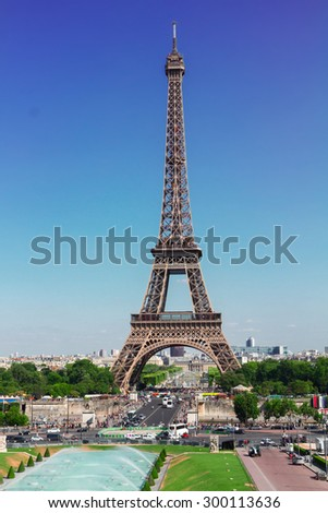 Eiffel Tower  and Paris cityscape in summer day, France