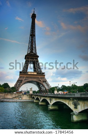 Eiffel tower and Seine river. HDR image. - stock photo