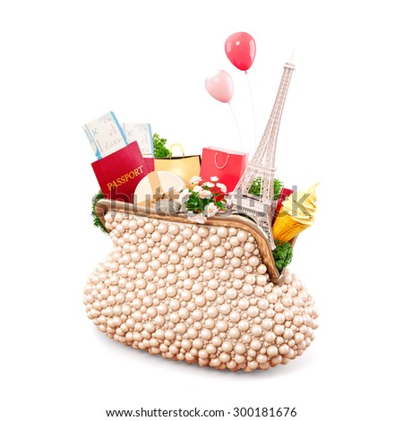 Eiffel tower and shopping bags in opened women's casual purse. Shopping in Paris. Unusual travel illustration. Isolated on white - stock photo