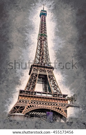 Eiffel tower at dusk, above clouds. viewd from seine. Vintage painting, background illustration, beautiful picture, travel texture - stock photo