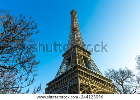 Eiffel Tower at winter time in Paris, France. - stock photo