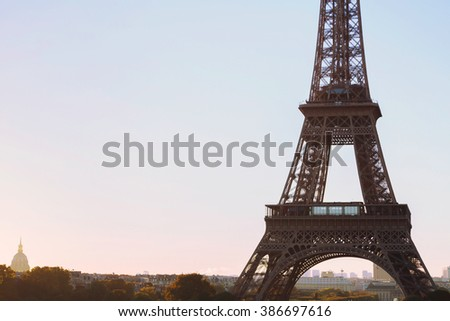 Eiffel Tower background with place for text, Paris