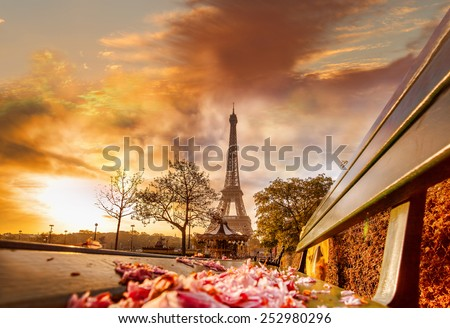 Eiffel Tower during beautiful  spring morning in Paris, France - stock photo
