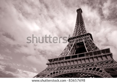 Eiffel Tower in Black and White Sepia Tone in Paris; France