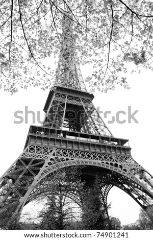 Eiffel Tower in black and white style, Paris, France - stock photo