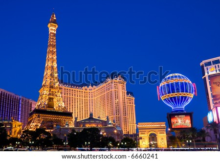 Eiffel Tower in Las Vegas at night - stock photo