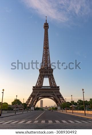 Eiffel tower in Paris against blue sky - stock photo