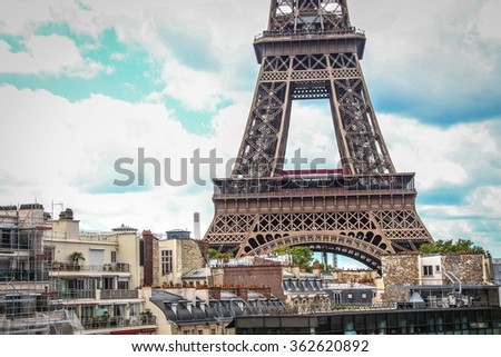 Eiffel tower in Paris city - stock photo