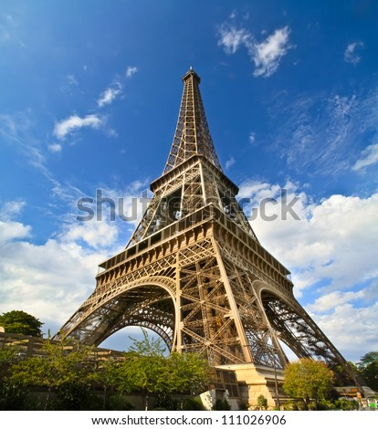 Eiffel Tower in paris France during sunny day - stock photo