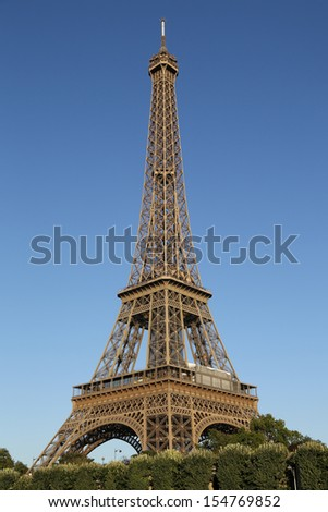 Eiffel Tower in Paris France seen from the Seine River - stock photo