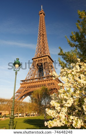 Eiffel Tower in spring time, Paris, France - stock photo