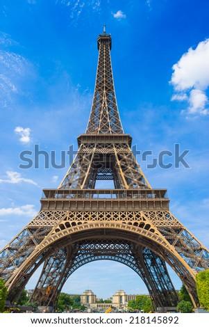 Eiffel Tower in the summer sun - stock photo