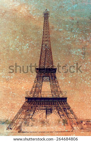 Eiffel Tower in vintage style - stock photo