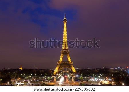 EIFFEL TOWER - january 07. Eiffel tower in the city of Paris on january 07, 2013. Eiffel tower create by Gustave Eiffel, Paris, Ile-de-france, France - stock photo